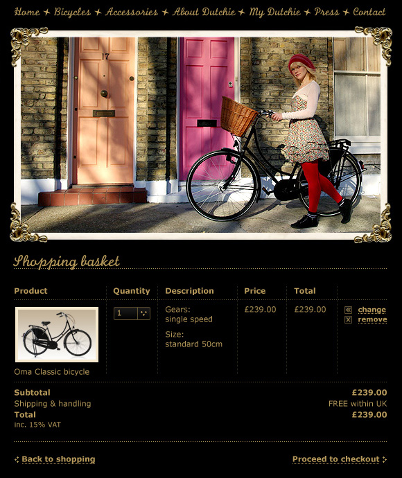 Dutchie Bicycles – website Shopping Basket page