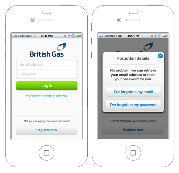 British Gas App – Registration Journey